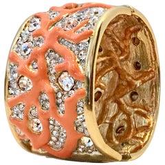 Gold Austrian Crystal & Enamal Coral Branch Cuff Bracelet By, Kenneth Jay Lane