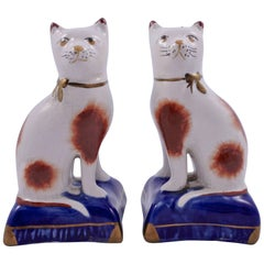 Pair Modern Staffordshire Hand Painted Pottery Cats