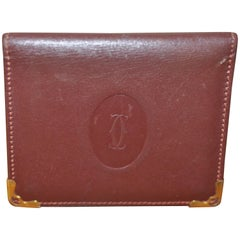 Vintage Must de Cartier Bordeaux Leather Mirror Wallet w/box and bag