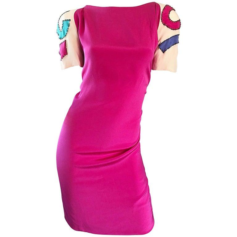 Vintage Bob Mackie Size 12 / 14 Hot Pink Ivory 1990s Short Sleeve 90s Silk Dress For Sale