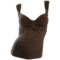Vintage Moschino Cheap & Chic 90s Chocolate Brown Jersey 1990s Sleeveless Top