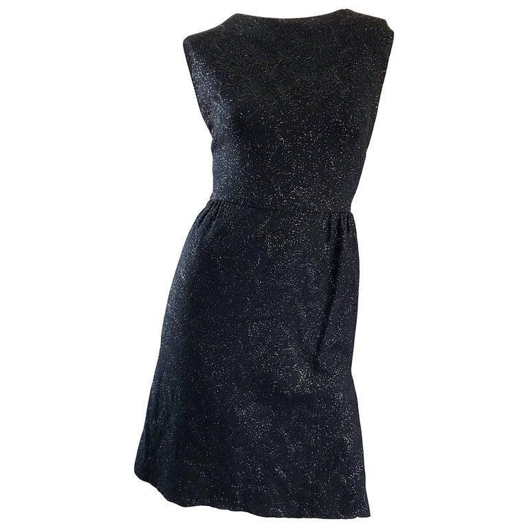 b43dd5859e Henry Rosenfeld 1950s Black Metallic Hand Woven Wiggle 50s Vintage Sheath  Dress For Sale