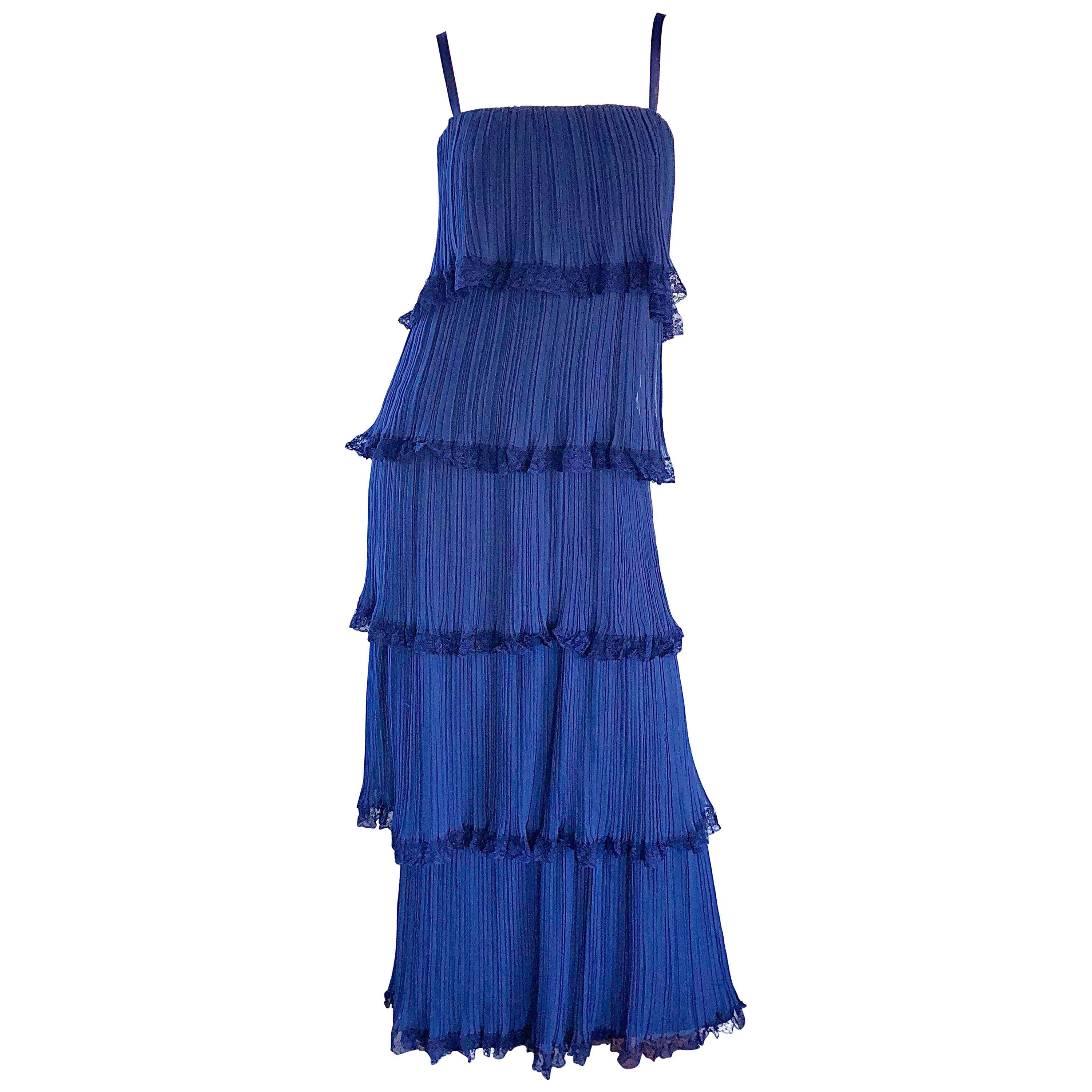 Bob Bugnand 1960s Large Navy Blue Silk Chiffon Tiered 60s Vintage Evening Gown
