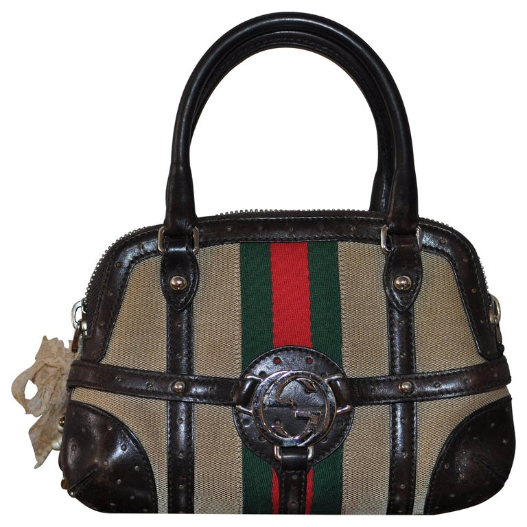 Gucci Sherry Line Vintage Perforated Leather and Canvas 114880 1781 Handbag