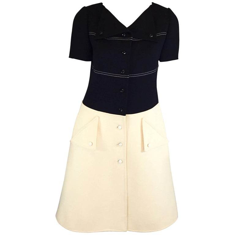 Courreges Paris Demi Couture Numbered Colorblock 1960's Dress