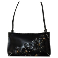 Celine Black Leather Handbag with Floral Applique CE00/13 Never Used