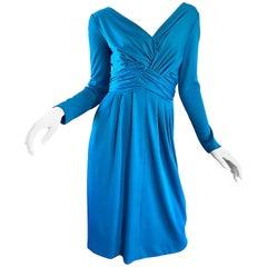 Vintage Lilli Diamond 1970s Teal Blue Long Sleeve 70s Knee Length Jersey Dress