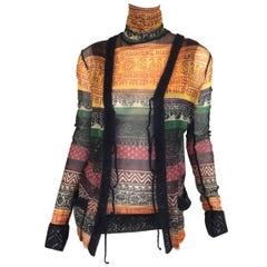 Jean Paul Gaultier Classique Fuzzi Stocking Knit Top and Cardigan Set