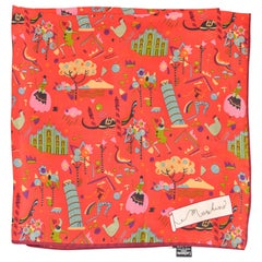 """Moschino Pictorial Silk Scarf 26""""x 26.5"""""""