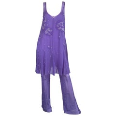 Chanel Lavender Silk Beaded Jumpsuit and Tunic Set, Ready to Wear Fall 2000