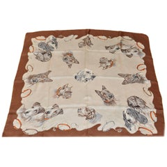 """Dog Lover's Silk Scarf 30"""" x 30.5"""" with Rolled Hem"""