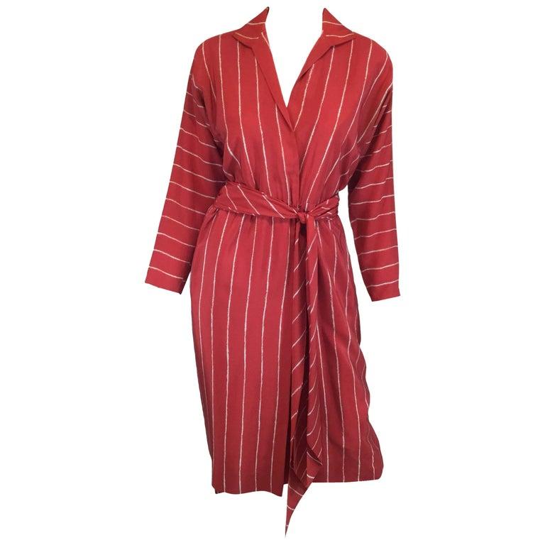Halston Silk Striped Vintage 1970's Wrap Dress with Sash/Belt