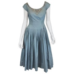 Vintage 1950's I. Magnin Dress with Jewel Cabochon Embellished Neckline