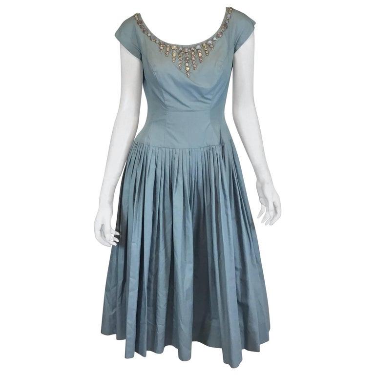 Vintage 1950's I. Magnin Dress with Jewel Cabochon Embellished Neckline