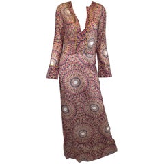 Valentino Multicolored Print Caftan Dress