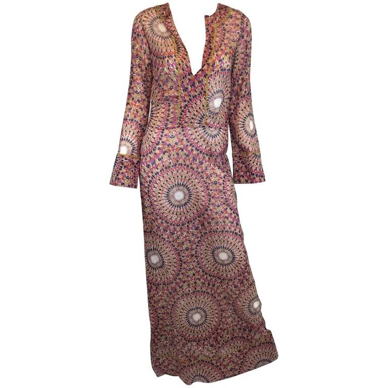 Valentino Multicolored Print Caftan Dress