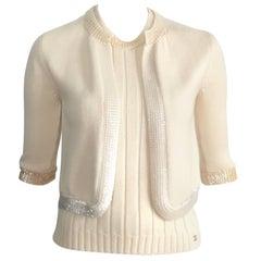 Chanel Wool Cream Knit Sequin Tank & Cardigan Set Size 4 / 38.