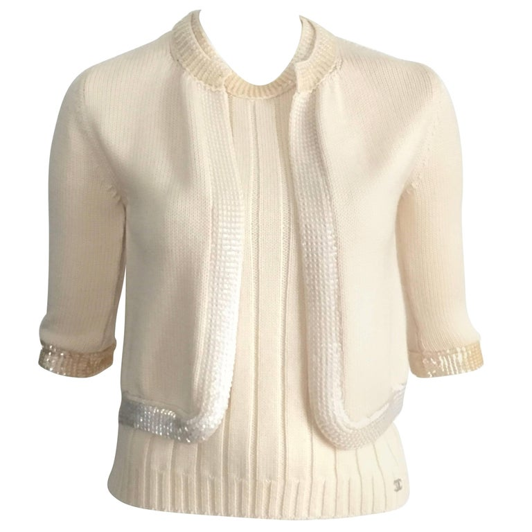 Chanel Wool Cream Knit Sequin Tank & Cardigan Set Size 4 / 38.