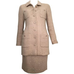 Chanel Wool Beige with Sequin Jacket & Skirt Suit Size 4 / 36.