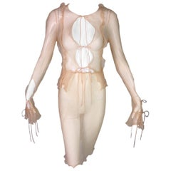 1990's Fendi by Karl Lagerfeld Sheer Peachy Nude Silk Open Front Top & Skirt
