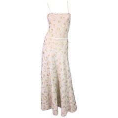 1990's Giorgio Armani Sheer Ivory & Gold Knit A-line Gown Dress XS/S