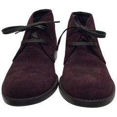 Bottega Veneta Maroon Suede Oxford Shoes