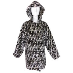 1990's Fendi Black & White Faux Fur Zucca Monogram Unisex Hooded Coat Jacket