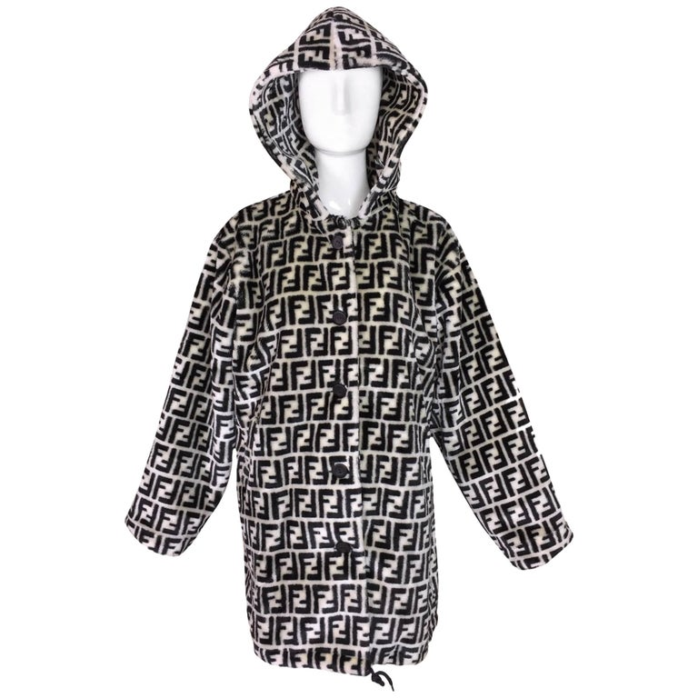 1990's Fendi Black & White Faux Fur Zucca Monogram Unisex Hooded Coat Jacket