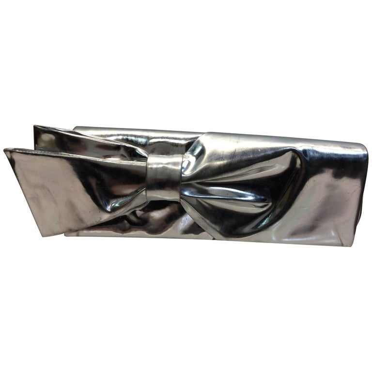 Christian Louboutin Silver Bow Clutch
