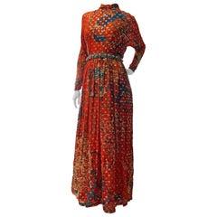 1970s Malcolm Starr Gold Sequin & Jewel Beaded Silk Print Chiffon Maxi Dress