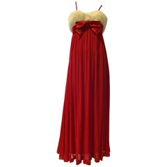 1964 Sarmi Red Silk Chiffon Pleated Empire Evening Gown W/ Mink Fur Bodice