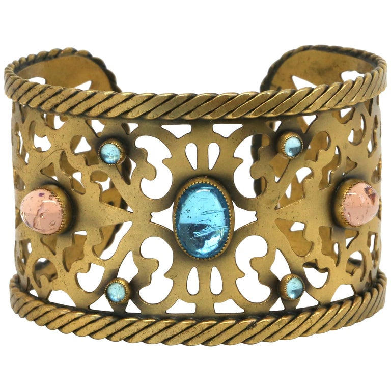04108cf273e Yves Saint Laurent pierced cuff with poured glass, 1970s For Sale at ...