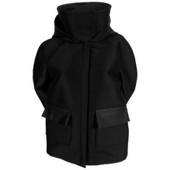 CELINE by PHOEBE PHILO black hooded jacket with satin accents
