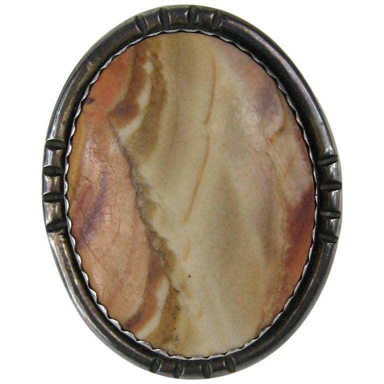 Massive Native American Jasper Sterling Silver Ring