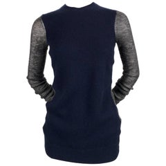 CELINE by PHOEBE PHILO navy and grey cashmere and alpaca sheer sweater