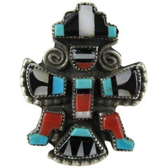 Native American Zuni Turquoise Coral Sterling Silver Knifewing Dancer Ring