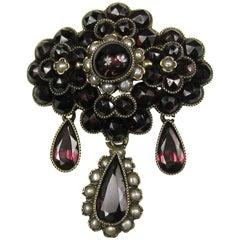 Victorian 14K Gold Rose Cut Bohemian Garnet Pearl Teardrop Brooch