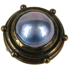 1980s Stephen Dweck Mabe Pearl Bronze Ring New, Never worn