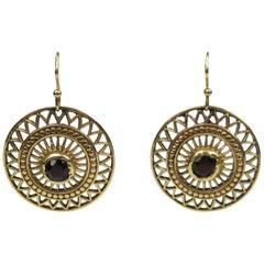 Antique 14K Gold Victorian Garnet Red Stone Dangle Earrings