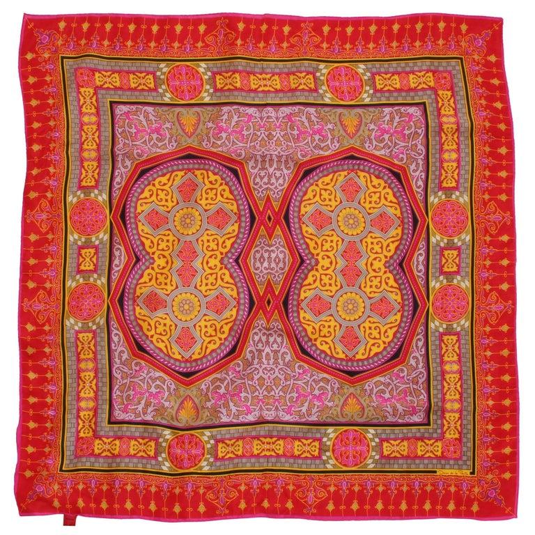 Vintage Oscar de la Renta Scarf 31in Shawl Vibrant Pink Orange Retro Baroque 60s