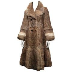 Celine Double Breasted Royal Rabbit Fur Coat Sz 34