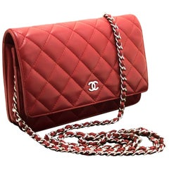 CHANEL Lambskin Wallet On Chain WOC Red Shoulder Bag Crossbody