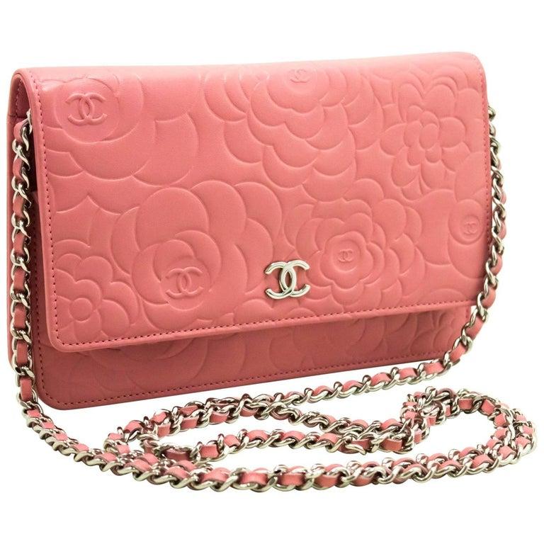 CHANEL 2012 Pink Camellia Wallet On Chain WOC Shoulder Bag Clutch