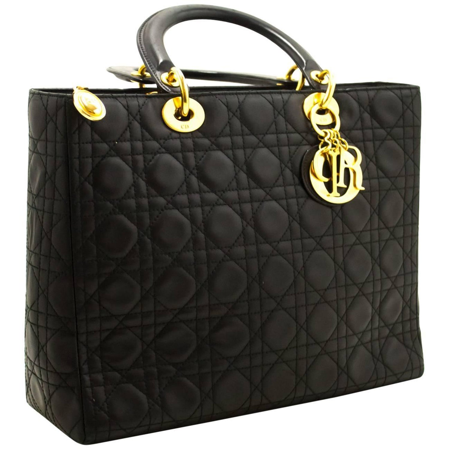 e90e4dcbe85 Christian Dior Lady Dior Large Handbag Black Lambskin Quilted Gold For Sale  at 1stdibs