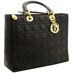 Christian Dior Lady Dior Large Handbag Black Lambskin Quilted Gold