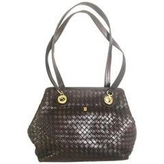 Vintage Bally dark brown lamb leather woven, intrecciato style shoulder bag.