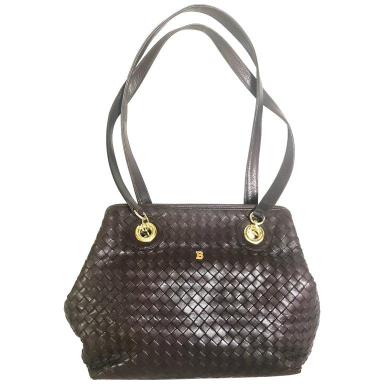 Vintage Bally dark brown lamb leather woven, intrecciato style shoulder bag.