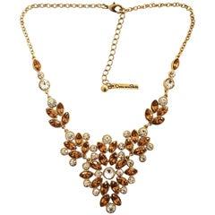 Oscar De La Renta Runway Necklace with Citrine glass and crystal