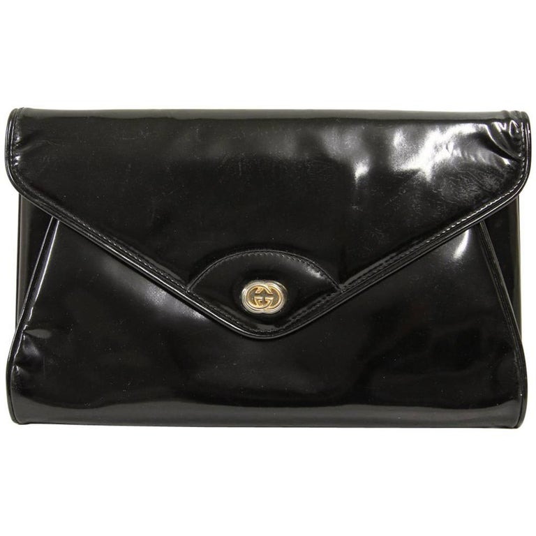 Gucci Black Patent Leather Vintage Pochette, 1980s