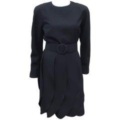 C.1990 Black Scaasi Cocktail Dress With Petal Skirt